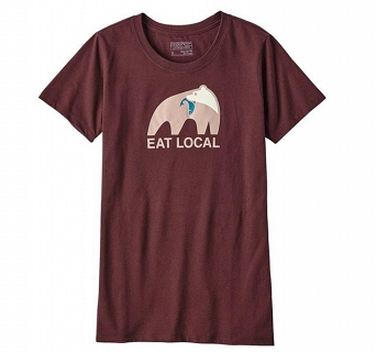 Koszulka damska Patagonia Eat Local Upstream Cotton/Poly Responsibili-Tee
