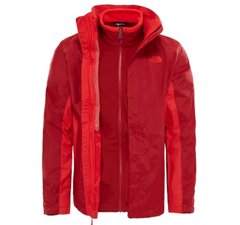 Kurtka The North Face Evolution Triclimate II - cardinal red - rozpięta